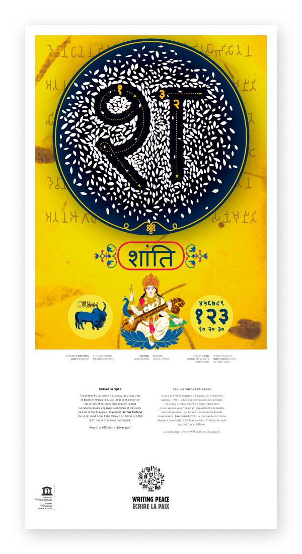 Kakemono sur l'écriture indienne