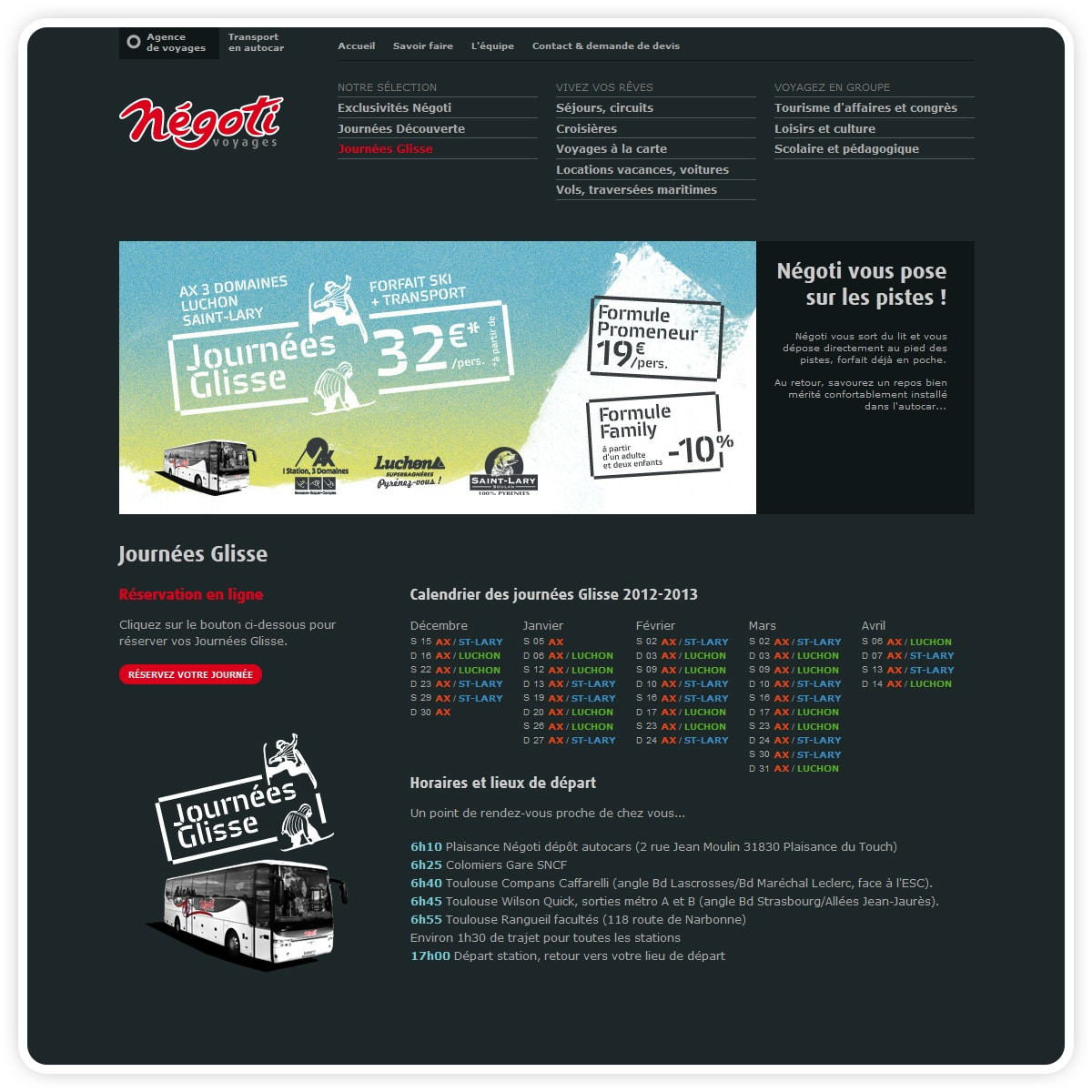 Page Journées Glisse sur le site Internet Négoti