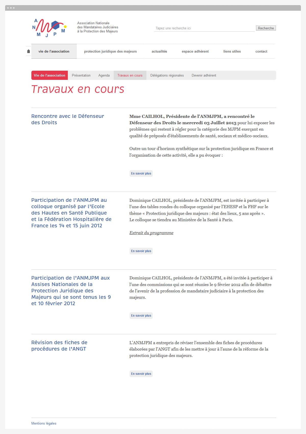 Association ANMJPM - page travaux en cours