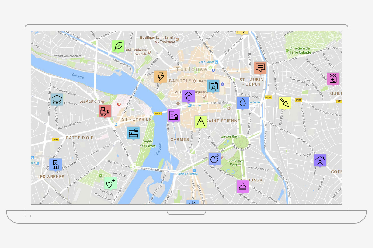 Carte interactive avec les pictogrammes NAF